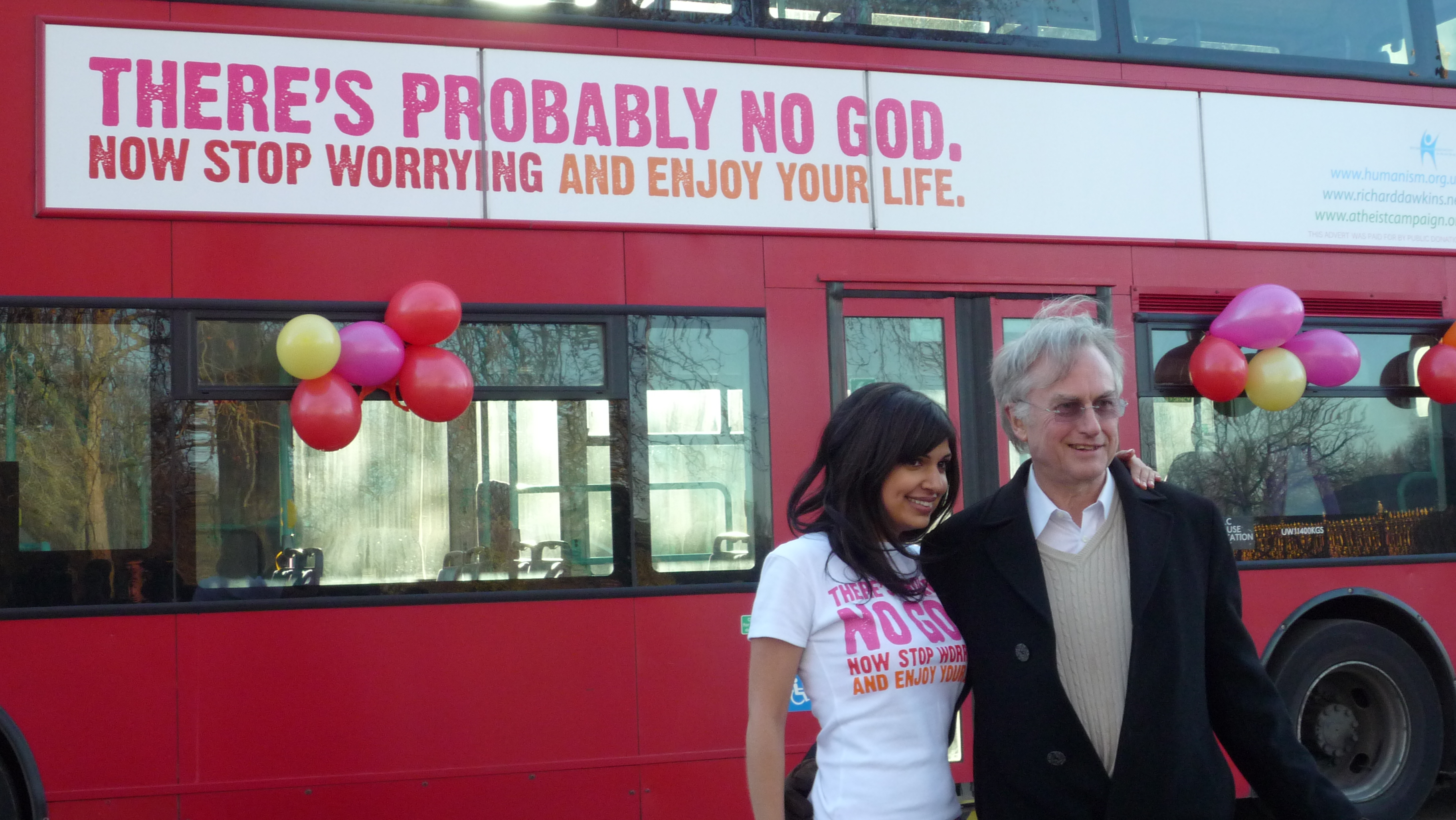 Richard Dawkins and Ariane Sherine, who created the slogan